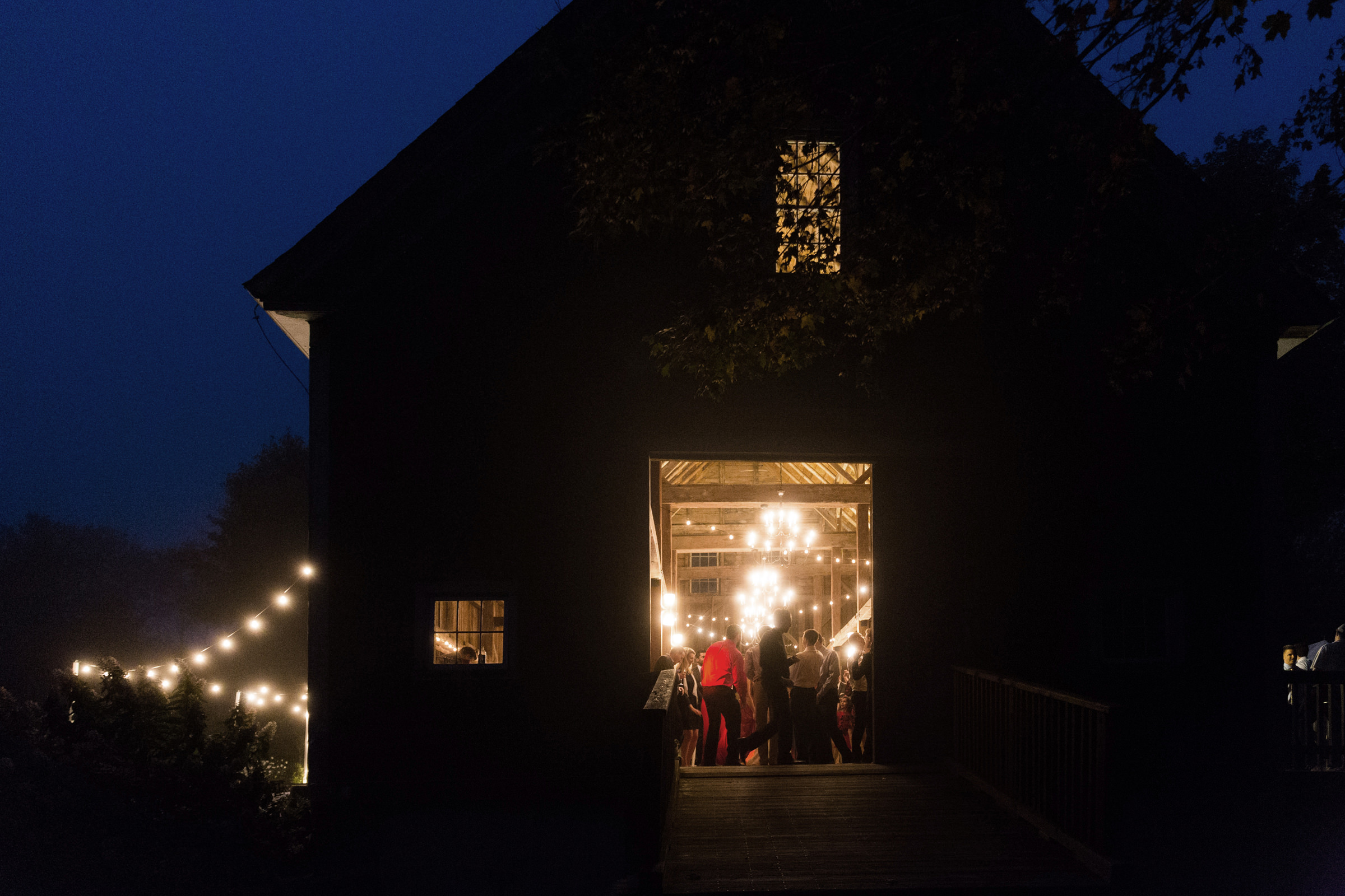 The Barn on Walnut Hill at night